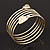 Gold Plated Crystal Leaf Armlet Bangle - up to 28cm upper arm - view 3