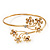 Gold Plated Diamante Floral Upper Arm Bracelet - up to 28cm upper arm - view 3