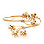 Gold Plated Diamante Floral Upper Arm Bracelet - up to 28cm upper arm - view 8