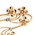 Gold Plated Diamante Floral Upper Arm Bracelet - up to 28cm upper arm - view 4