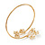 Gold Plated Diamante Floral Upper Arm Bracelet - up to 28cm upper arm - view 6