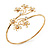 Gold Plated Diamante Floral Upper Arm Bracelet - up to 28cm upper arm - view 2