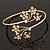 Gold Plated Diamante Floral Upper Arm Bracelet - up to 28cm upper arm - view 5