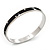 Stylish Black Enamel Slip-On Bangle With Clear Swarovski Crystals (Silver Finish) - 18cm Length