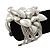 Matt Silver Heart Chunky Cuff Bangle - Adjustable - view 2