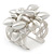 Matt Silver Heart Chunky Cuff Bangle - Adjustable - view 5