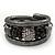 Black Hematite/Glass Beaded Coil Bangle Bracelet - Adjustable - view 4