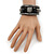 Black Hematite/Glass Beaded Coil Bangle Bracelet - Adjustable - view 3
