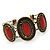 Vintage Burn Gold Hammered Cuff Bangle With Red Stones - Adjustable - view 7