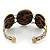 Vintage Burn Gold Hammered Cuff Bangle With Red Stones - Adjustable - view 5