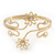 Gold Plated Textured 'Flowers & Twirls' Diamante Upper Arm Bracelet Armlet - Adjustable - view 5