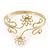 Gold Plated Textured 'Flowers & Twirls' Diamante Upper Arm Bracelet Armlet - Adjustable - view 7