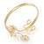 Gold Plated Textured 'Flowers & Twirls' Diamante Upper Arm Bracelet Armlet - Adjustable - view 4