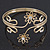 Gold Plated Textured 'Flowers & Twirls' Diamante Upper Arm Bracelet Armlet - Adjustable - view 2