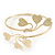 Gold Plated Textured Diamante 'Heart' Armlet Bangle - Adjustable - view 7