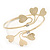 Gold Plated Textured Diamante 'Heart' Armlet Bangle - Adjustable - view 6