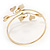 Gold Plated Textured Diamante 'Heart' Armlet Bangle - Adjustable - view 5
