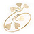 Gold Plated Textured Diamante 'Heart' Armlet Bangle - Adjustable - view 3