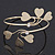 Gold Plated Textured Diamante 'Heart' Armlet Bangle - Adjustable - view 2