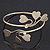 Gold Plated Textured Diamante 'Heart' Armlet Bangle - Adjustable - view 8