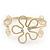 Gold Plated Textured 'Flower & Swirls' Diamante Upper Arm Bracelet Armlet - Adjustable - view 2