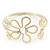 Gold Plated Textured 'Flower & Swirls' Diamante Upper Arm Bracelet Armlet - Adjustable - view 6