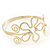 Gold Plated Textured 'Flower & Swirls' Diamante Upper Arm Bracelet Armlet - Adjustable - view 7