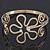 Gold Plated Textured 'Flower & Swirls' Diamante Upper Arm Bracelet Armlet - Adjustable - view 3