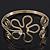 Gold Plated Textured 'Flower & Swirls' Diamante Upper Arm Bracelet Armlet - Adjustable - view 10