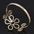 Gold Plated Textured 'Flower & Swirls' Diamante Upper Arm Bracelet Armlet - Adjustable - view 4
