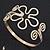Gold Plated Textured 'Flower & Swirls' Diamante Upper Arm Bracelet Armlet - Adjustable - view 5
