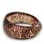 Glittering Brown/Beige 'Snake Skin Print' Resin Bangle Bracelet - up to 20cm Length
