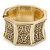 Wide Chunky Burn Gold Hammered Hinged Bangle Bracelet