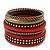 Vintage Burn Gold/ Carmine Red Studded Wood Set Of 7 Bangles - 18cm Length - view 3