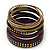 Vintage Burn Gold/ Purple Studded Wood Set Of 7 Bangles - 18cm Length - view 6