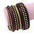 Vintage Burn Gold/ Purple Studded Wood Set Of 7 Bangles - 18cm Length - view 2