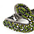 Vintage Burn Silver Olive Glass/Crystal Bead 'Snake' Hinged Bangle - 18cm Length - view 6