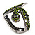 Vintage Burn Silver Olive Glass/Crystal Bead 'Snake' Hinged Bangle - 18cm Length - view 10