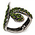 Vintage Burn Silver Olive Glass/Crystal Bead 'Snake' Hinged Bangle - 18cm Length - view 1