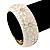 White Enamel 'Daisy' Hinged Bangle Bracelet In Gold Plating - 19cm Length