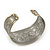 Brushed Gun Metal 'Phoenix and Dragon' Silhouette Cuff Bracelet - up to 20cm - view 2