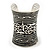 Wide Rhodium Plated Roman Etched Cuff - 95mm Height