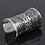 Wide Rhodium Plated Roman Etched Cuff - 95mm Height - view 3