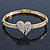 Clear Diamante 'Heart' Bracelet In Gold Plating - 17cm Length