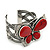 Large Red Ceramic 'Butterfly' Cuff Bracelet In Silver Plating - view 3