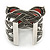 Large Red Ceramic 'Butterfly' Cuff Bracelet In Silver Plating - view 7