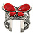 Large Red Ceramic 'Butterfly' Cuff Bracelet In Silver Plating - view 2