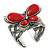 Large Red Ceramic 'Butterfly' Cuff Bracelet In Silver Plating - view 8