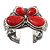 Large Red Ceramic 'Butterfly' Cuff Bracelet In Silver Plating - view 10
