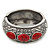 Burn Silver Effect Red Ceramic Stone Hammered Hinged Bangle - up to 19cm wrist - view 6